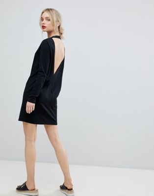 Image 1 of ASOS Open Back T-Shirt Dress with V Back and Long Sleeves