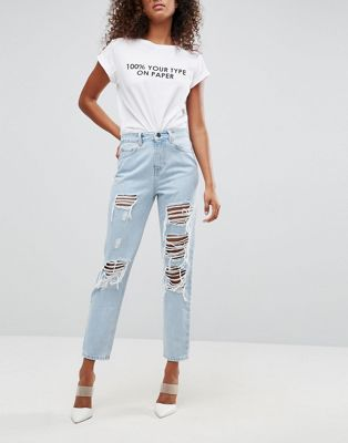 ASOS ORIGINAL MOM Jeans in Dex Aged Wash with Rips and Busts