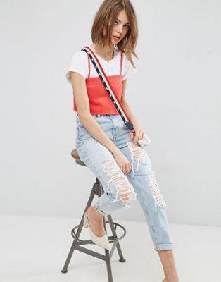 ASOS ORIGINAL MOM Jeans in Missouri Light Stonewash with Rips and Busts