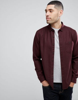 ASOS Overshirt in Wool Mix Herringbone In Burgundy