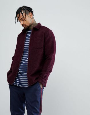 ASOS Overshirt In Wool Mix In Burgundy