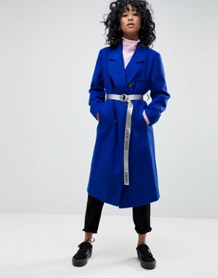ASOS Oversized Coat with Contrast Belt