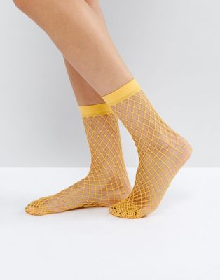 ASOS Oversized Fishnet Ankle Socks in Orange