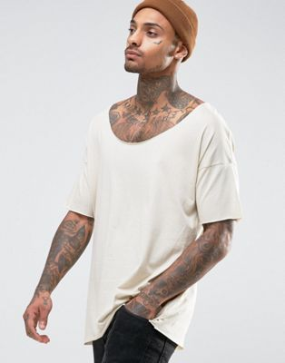 Image 1 of ASOS Oversized Longline T-Shirt With Raw Scoop Neck In Beige