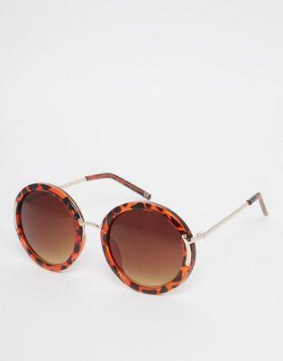 Image 1 of ASOS Oversized Round Sunglasses With Metal Corner Hinge And Nose Bridge