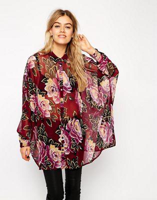 Image 1 of ASOS Oversized Seam Detail Kimono Blouse In Dark Winter Floral