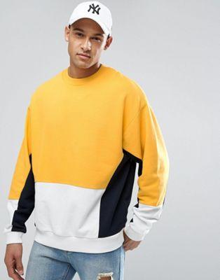 ASOS - Oversized sweatshirt met gele kleurvlakken