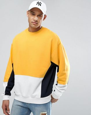 Image 1 of ASOS Oversized Sweatshirt With Yellow Color Blocking