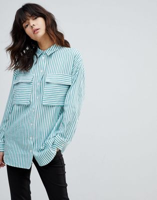 ASOS Oversized Utility Shirt in Green Stripe