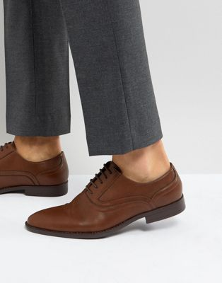 ASOS Oxford Shoes In Tan Faux Leather With Emboss Detail