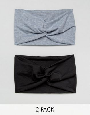ASOS Pack of 2 Black and Grey Marl Twist Headbands