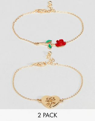ASOS Pack of 2 Rose Detail Chain Bracelets