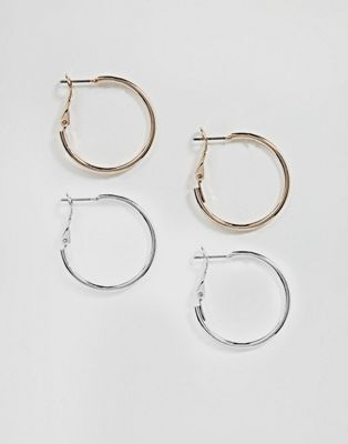 ASOS Pack of 2 Simple Hoop Earrings