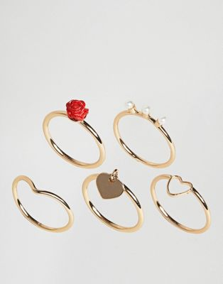 ASOS Pack of 5 Love Ring Pack