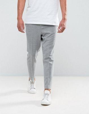 ASOS - Pantaloni eleganti stretti in fondo grigio chiaro testurizzato con elastico sul retro