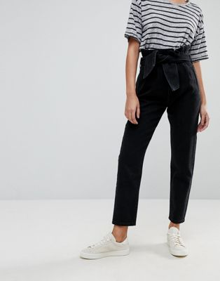 ASOS Paper Bag Waist Boyfriend Jeans with Belt