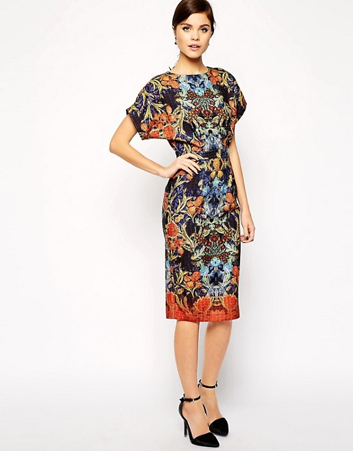 ASOS Pencil Dress with Cut Out Back in Wallpaper Print