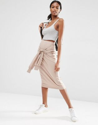 ASOS Pencil Skirt in Sweat with Tie Sleeve Detail