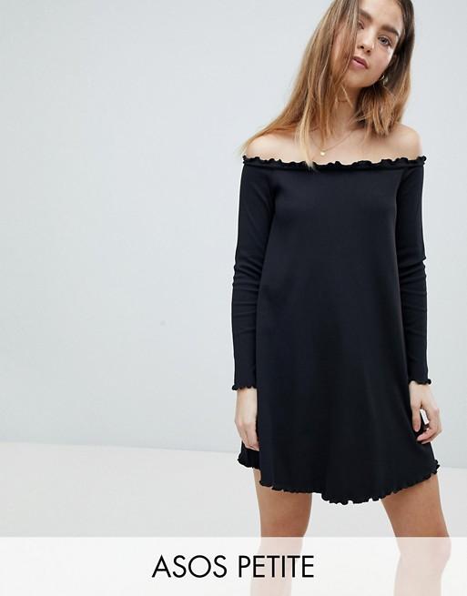 ASOS PETITE Babylock Rib Off Shoulder Mini Dress