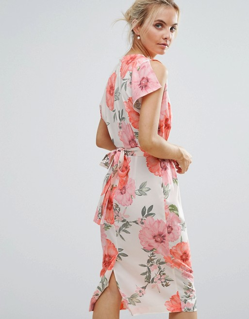 517ae3a4c7 ASOS PETITE Belted Dress with Split Cap Sleeve and Pencil Skirt in Floral  Print | ASOS