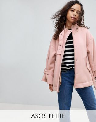 ASOS PETITE Bonded Jacket with Fleece Lining and Metalwear