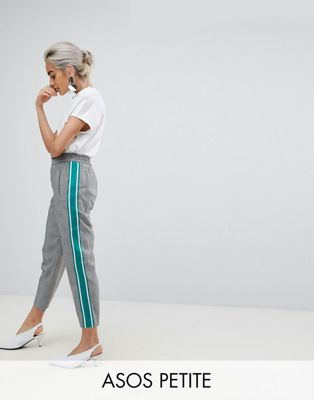 ASOS PETITE Checked Tapered Trousers with Sports Trim