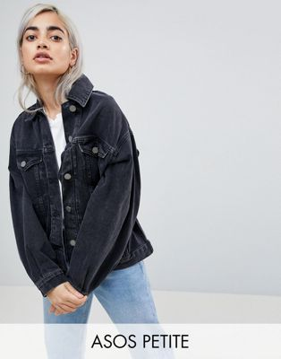 ASOS PETITE Denim Girlfriend Jacket in Washed Black