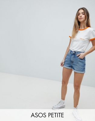 ASOS PETITE Denim Mom Short in Vintage Blue