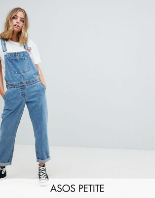 ASOS PETITE Denim Overall in Midwash Blue