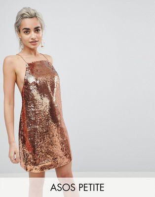 Image 1 of ASOS PETITE Embellished Sequin Cami Mini Dress