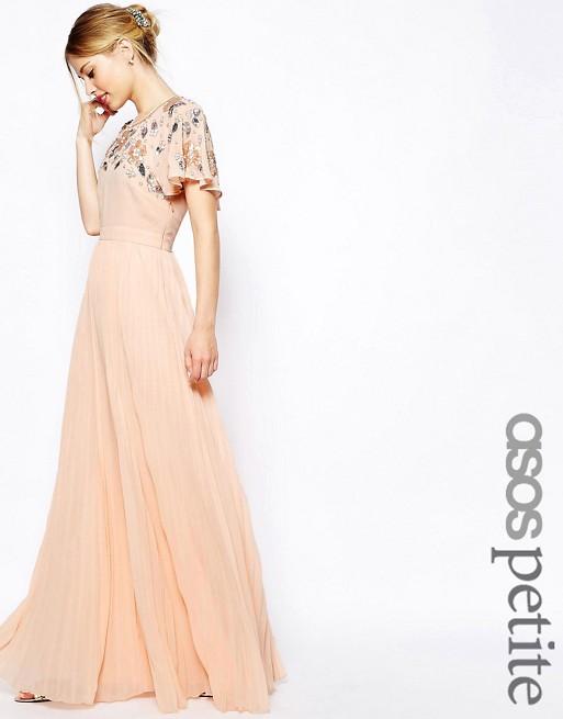 Image 1 of ASOS PETITE Embellished Sleeve Pleated Maxi