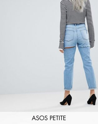 ASOS PETITE FARLEIGH High Waist Slim Mom Jeans In Ariel Light Stone Wash With Thigh rip Detail