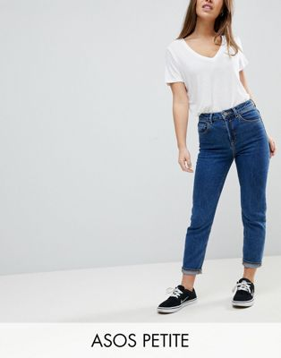 ASOS PETITE FARLEIGH High Waist Slim Mom Jeans In Marli Deep Flat Blue Wash