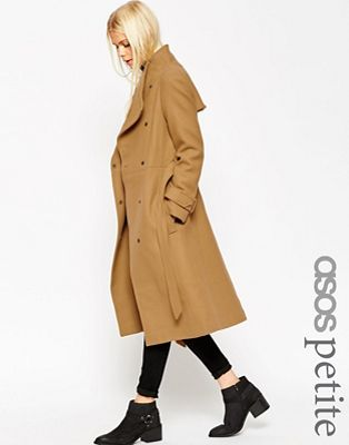 Image 1 of ASOS PETITE Funnel Neck Coat