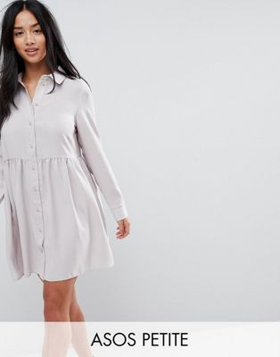 Afbeelding 1 van ASOS PETITE - Gesmokte mini-t-shirtjurk