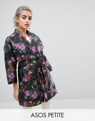 ASOS PETITE - Giacca kimono jacquard con motivo a fiori su fondo scuro
