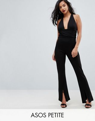 ASOS PETITE Jersey Jumpsuit with Halter Neck and Plunge Detail
