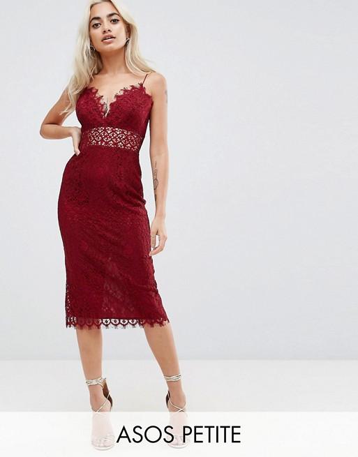 Image 1 of ASOS PETITE Lace Cami Midi Pencil Dress