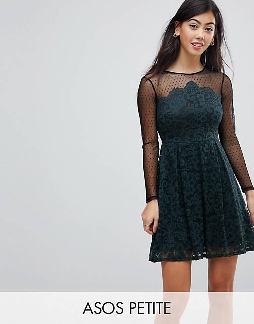 ASOS PETITE Lace & Dobby Mini Skater Dress