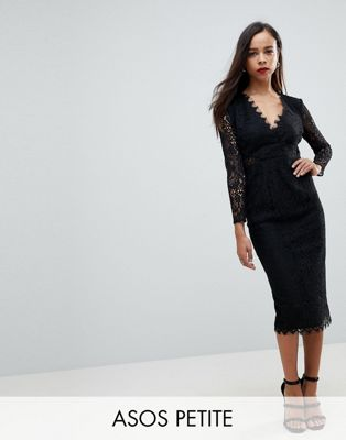 ASOS PETITE Long Sleeve Lace Midi Pencil Dress