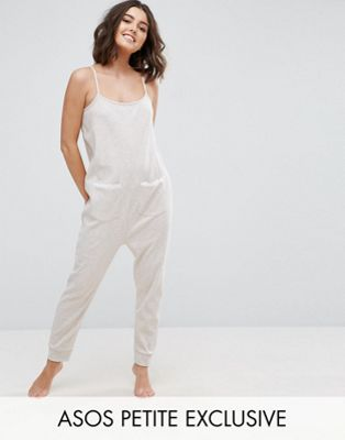 Image 1 of ASOS PETITE LOUNGE Oatmeal Marl Jersey Jumpsuit