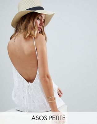 ASOS PETITE Low Back Mini Sundress in Heart Broderie