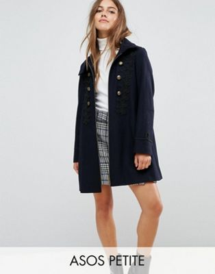 Image 1 of ASOS PETITE Military Coat with Frogging Detail
