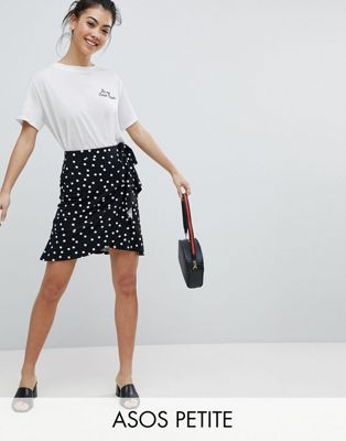ASOS PETITE Mini Wrap Skirt in Polka Dot Print