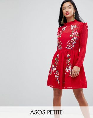 Image 1 of ASOS PETITE Pretty Embroidered Mini Dress on Dobby