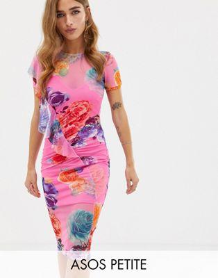 Image 1 of ASOS PETITE Printed Mesh Midi Dress With Frill Detail