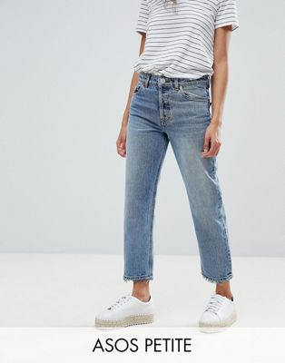 ASOS PETITE RECYCLED FLORENCE AUTHENTIC Straight Leg Jeans In Spring Light Stone Wash