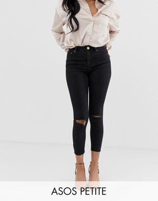 ASOS PETITE RIDLEY High Waist Skinny Jeans In Clean Black With Ripped Knees