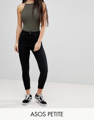 ASOS PETITE RIDLEY High Waist Skinny Jeans in Clean Black