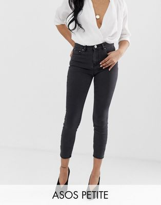 ASOS PETITE RIDLEY High Waist Skinny Jeans In Washed Black